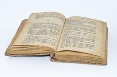老被染黄的书用意大利语 免版税库存照片