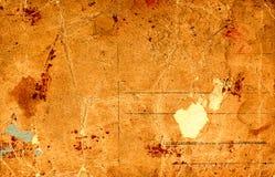 老被染黄的肮脏的明信片 免版税库存图片