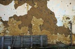 老被毁坏的墙壁的片段 免版税库存图片