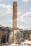 老被烧的房子在乡下 图库摄影