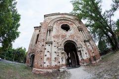 老被破坏的犹太教堂大厦在维丁,保加利亚 图库摄影
