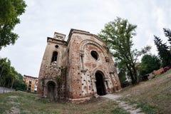 老被破坏的犹太教堂大厦在维丁,保加利亚 免版税库存图片