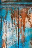 老被绘的木墙壁纹理或可以使用作为背景 油漆削皮 免版税库存照片