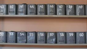 老被编号的储藏盒或案件在架子站立 股票视频