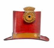 老被隔绝的高顶丝质礼帽金属被绘的红色 库存图片