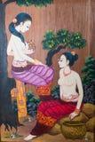 老被雕刻的木头,仿造背景/textur的泰国传统 免版税图库摄影