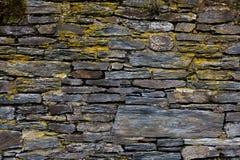 老被风化的板岩砖墙,纹理,背景 免版税库存照片