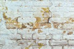 老被风化的白色砖墙纹理 免版税库存照片