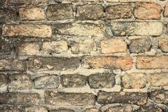 老被风化的砖墙纹理 免版税库存照片