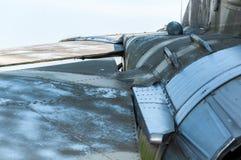 老被风化的米高扬Gurevich MiG的尾巴23MF 免版税库存图片