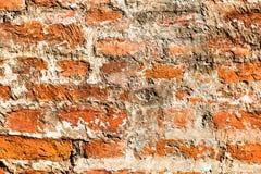 老被风化的难看的东西红砖墙壁 库存照片