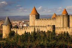 老被围住的城堡 卡尔卡松 法国 免版税图库摄影