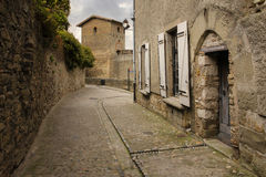 老被围住的城堡 罗马塔 卡尔卡松 法国 免版税图库摄影