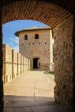 老被围住的城堡 罗马塔 卡尔卡松 法国 库存图片