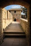 老被围住的城堡 罗马塔 卡尔卡松 法国 库存照片