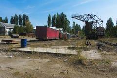 老被破坏的和被放弃的工厂在区域 库存照片