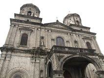 老西班牙人西班牙时代天主教会在安赫莱斯市pampanga菲律宾 免版税库存照片