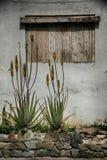 老西班牙语在Vilaflora,特内里费岛风化了窗口 免版税库存照片
