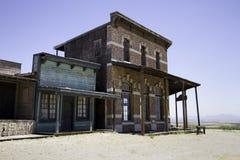 老西部镇电影演播室边路交谊厅和旅馆 免版税库存图片