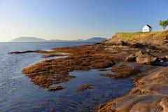 老警告号角驻地和圣胡安海岛从砂岩架子在东部点,海湾海岛国家公园, Saturna 免版税图库摄影