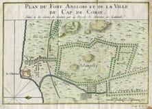 老计划盖帽CORSE加纳堡垒ANGLOIS 1750 免版税库存图片