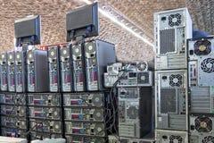 老计算机墙壁 免版税库存照片