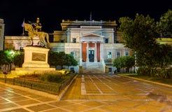 老议会在晚上,雅典,希腊安置 库存图片