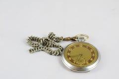老记忆, collector& x27; 在白色被隔绝的背景的s手表 库存照片