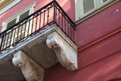 老详细资料希腊房子 免版税库存照片