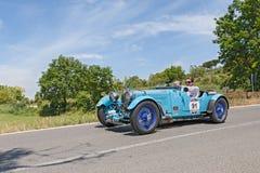 老赛车阿斯顿・马丁勒芒在Mille Miglia 2014年 免版税图库摄影