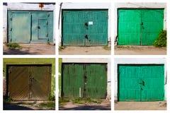 老车库门,六张图片 库存照片