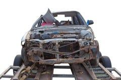 老车祸崩溃能在汽车拖车的` t驱动 免版税图库摄影