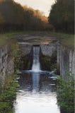 老输送管道在森林里 库存照片
