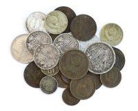 老过期的硬币 苏联硬币和银币 库存照片