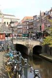 老运河和鱼市在乌得勒支,荷兰 免版税库存图片