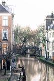 老运河在乌得勒支,荷兰 免版税库存图片