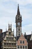 老邮局塔在跟特,比利时 免版税库存照片