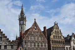 老邮局塔在跟特,比利时 免版税图库摄影