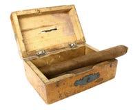 老配件箱雪茄 免版税库存照片