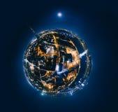 老里加夜行星 跨接在里加市360 VR寄生虫图片的路虚拟现实的 免版税库存图片