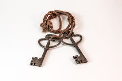 老重的黄铜钥匙 免版税图库摄影