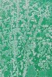 老金属绿色白色霜纹理和切片干油漆,抽象背景,减速火箭, 免版税库存照片