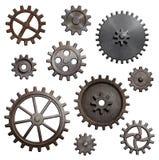 老金属齿轮和嵌齿轮隔绝了3d例证 免版税库存图片