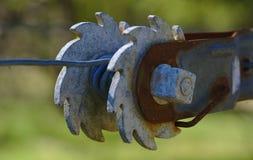 老金属齿轮接近的看法  库存图片