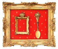 老金黄框架有红色背景 免版税库存图片