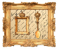 老金黄框架有葡萄酒背景 图库摄影