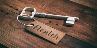老钥匙以在木背景的标记健康 3d例证 库存图片