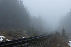 老铁路在一个有雾的冬日 国家公园哈茨山,德国 免版税库存图片