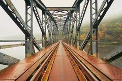 老铁路桥在有雾的早晨 免版税库存图片