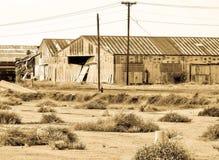 老铁路穿戴房子 免版税库存照片